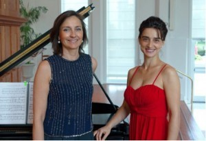 Featured solo artists are Daniela Shtereva (left) on violin and Belina Kostadinova (right) on piano.
