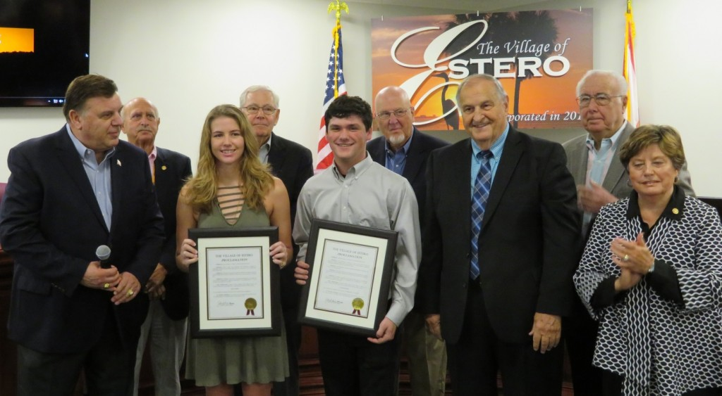 Estero High School students honored at Council meeting on March 7, 2018 –  Village of Estero, FL